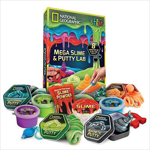 National Geographic Mega Slime & Putty Lab - Find unique STEM gifts find science kits, educational games, environmental gifts and toys for boys and girls at Gifteee Cool gifts, Unique Gifts for science lovers