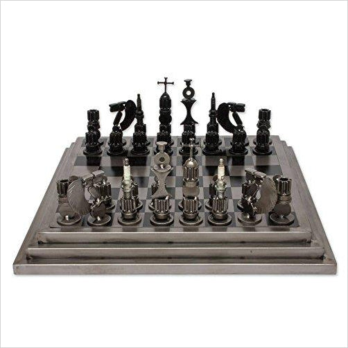 Recycled Metal Auto Parts Steel Chess Set, 'Rustic Warriors' - Find unique gifts for teen boys and young men age 12-18 year old, gifts for your son, gifts for a teenager birthday or Christmas at Gifteee Unique Gifts, Cool gifts for teenage boys
