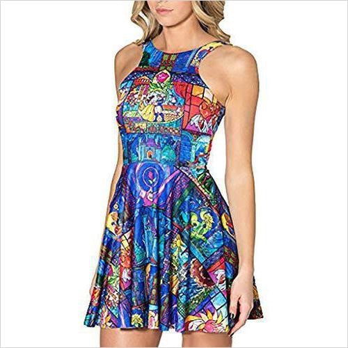 Cartoon Printed Stretchy Sleeveless Pleated Fit and Flare Skater Dress-Apparel - www.Gifteee.com - Cool Gifts \ Unique Gifts - The Best Gifts for Men, Women and Kids of All Ages