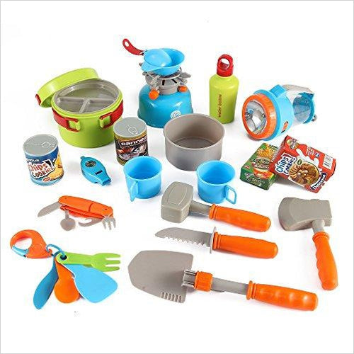 Little Explorers Camping Gear Toy Tools Play Set for Kids - Find unique gifts for a newborn baby and cool gifts for toddlers ages 0-4 year old, gifts for your kids birthday or Christmas, special baby shower gifts and age reveal gifts at Gifteee Unique Gifts, Cool gifts for babies and toddlers