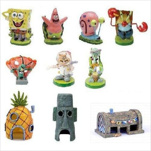 SpongeBob SquarePants Aquarium Decorations Set (10pc)-Pet Products - www.Gifteee.com - Cool Gifts \ Unique Gifts - The Best Gifts for Men, Women and Kids of All Ages