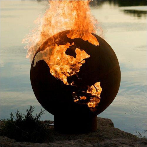 Earth Globe Fire Pit - Find the most unique and unusual gifts. Weird gifts ideas that you never saw before. unusual gadgets, unique products that simply very odd at Gifteee Odd gifts, Unusual Gift ideas