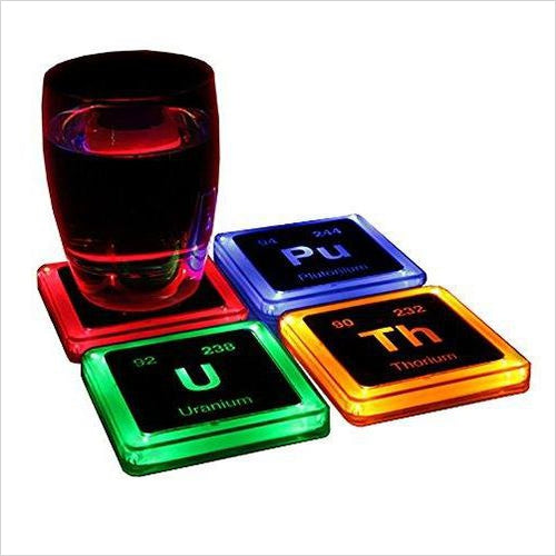 Radioactive Elements Glowing Coaster Set - Find unique gifts for boys age 5-11 year old, gifts for your son, gifts for your kids birthday or Christmas, gifts for you children classmates and friends at Gifteee Unique Gifts, Cool gifts for boys