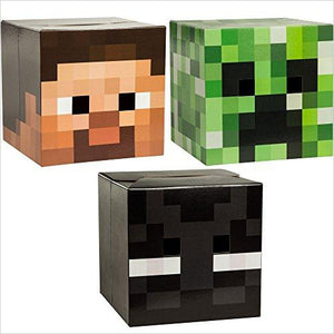 Minecraft Head Costume Mask Set (Steve, Creeper & Enderman) - Find Minecraft gift ideas for kids, educational minecraft gifts, minecraft clothing, minecraft figures, minecraft toys and more at Gifteee Unique Gifts, Cool gifts for Minecraft fans