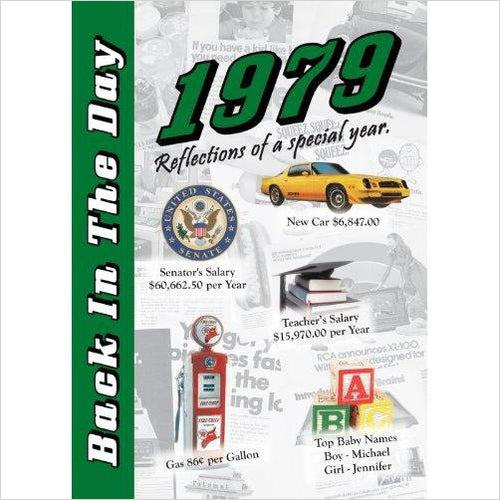1979 Back In The Day Almanac - 24-page Booklet / Greeting Card - Find birthday unique party accessories and cool birthday party supplies and also birthday party games for kids and adults at Gifteee Unique Gifts, Cool gifts for kids of all ages