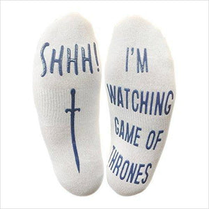 """Shhh I'm Watching Game Of Thrones"" Funny Socks-Apparel - www.Gifteee.com - Cool Gifts \ Unique Gifts - The Best Gifts for Men, Women and Kids of All Ages"