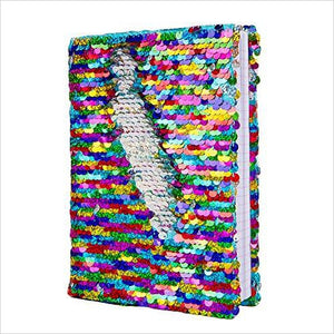 Magic Sequin! Reversible Sequin Rainbow to Silver Journal - Find unique arts and crafts gifts for creative people who love a new hobby or expand a current hobby, art accessories, craft kits and models at Gifteee Cool gifts, Unique Gifts for arts and crafts lovers