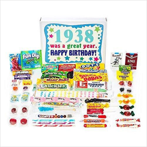 Vintage Retro Candy Assortment from Childhood - 1938 80th Birthday Gift Box - Gifteee. Find cool & unique gifts for men, women and kids
