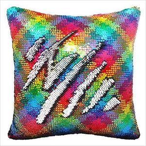 Rainbow Pillow Case - Reversible Sequin-Home - www.Gifteee.com - Cool Gifts \ Unique Gifts - The Best Gifts for Men, Women and Kids of All Ages