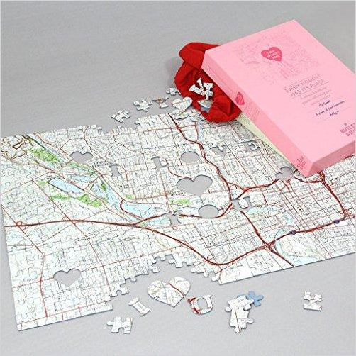 Personalized 'We First Met' Map Jigsaw Puzzle - Find unique love and romance gifts, special gifts for Valentine's day, beautiful gifts for your girl friend to spread love into the air at Gifteee Cool gifts, Unique Gifts for Valentine's day