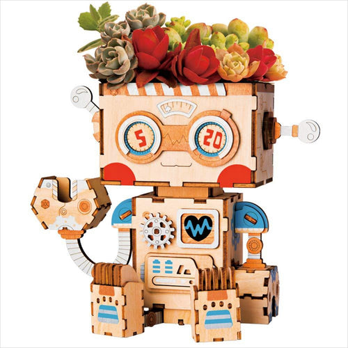 DIY Wooden Flower Pot - Robot - Gifteee. Find cool & unique gifts for men, women and kids