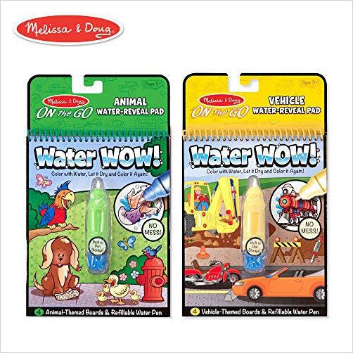 Melissa & Doug Reusable Water-Reveal Activity Pads, 2-pk, Vehicles, Animals-Toy - www.Gifteee.com - Cool Gifts \ Unique Gifts - The Best Gifts for Men, Women and Kids of All Ages