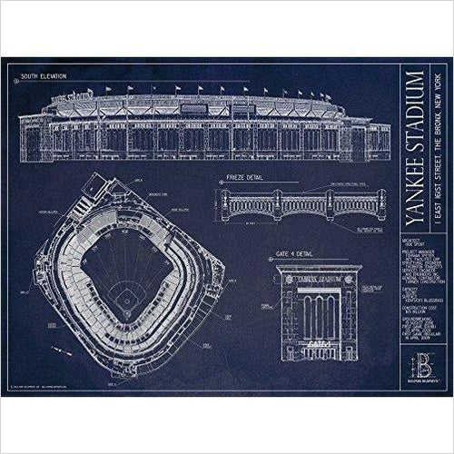 Yankee Stadium Ballpark Blueprint - Find the perfect gift for a sport fan, gifts for health fitness fans at Gifteee Cool gifts, Unique Gifts for wellness, sport and fitness