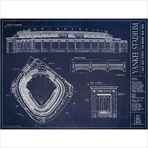 Yankee Stadium Ballpark Blueprint-Home - www.Gifteee.com - Cool Gifts \ Unique Gifts - The Best Gifts for Men, Women and Kids of All Ages