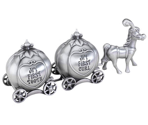 Fairytale Coach Keepsake Pewter Tooth and Curl Box - Find unique gifts for a newborn baby and cool gifts for toddlers ages 0-4 year old, gifts for your kids birthday or Christmas, special baby shower gifts and age reveal gifts at Gifteee Unique Gifts, Cool gifts for babies and toddlers