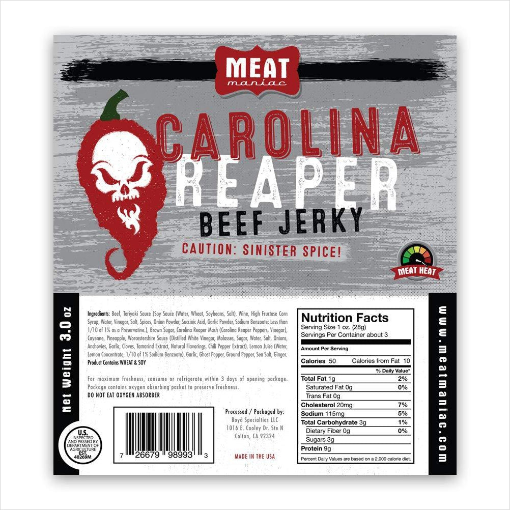 Carolina Reaper Beef Jerky-Grocery - www.Gifteee.com - Cool Gifts \ Unique Gifts - The Best Gifts for Men, Women and Kids of All Ages