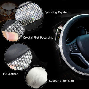 Diamond Leather Steering Wheel Cover with Bling Bling Crystal Rhinestones-Automotive Parts and Accessories - www.Gifteee.com - Cool Gifts \ Unique Gifts - The Best Gifts for Men, Women and Kids of All Ages