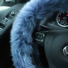 Load image into Gallery viewer, Winter Warm Faux Wool Steering Wheel Cover with Handbrake Cover & Gear Shift Cover - Find unique gifts for a car lover, cool decor for you car, car gadgets and car bling accessories at Gifteee Cool gifts, Unique Gifts for car lovers