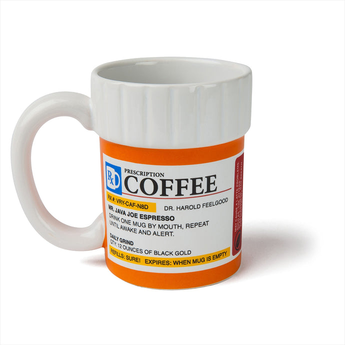 The Prescription Coffee Mug - Find funny gift ideas, the best gag gifts, gifts for pranksters that will make everybody laugh out loud at Gifteee Cool gifts, Funny gag Gifts for adults and kids