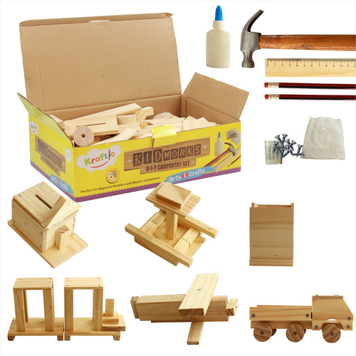 DIY Deluxe Carpentry Woodworking Kit with 6 Projects - Gifteee. Find cool & unique gifts for men, women and kids