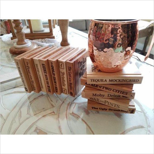 Book Shape Coasters-coasters - www.Gifteee.com - Cool Gifts \ Unique Gifts - The Best Gifts for Men, Women and Kids of All Ages
