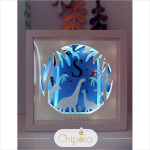 Personalized Paper Art Shadow Box - Dinosaurs-paper art - www.Gifteee.com - Cool Gifts \ Unique Gifts - The Best Gifts for Men, Women and Kids of All Ages