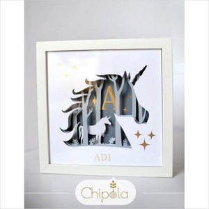 Personalized Paper Art Shadow Box - Unicorn-paper art - www.Gifteee.com - Cool Gifts \ Unique Gifts - The Best Gifts for Men, Women and Kids of All Ages