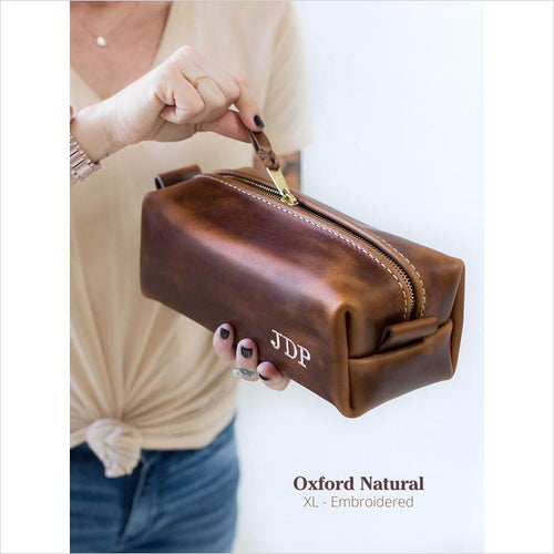 Personalized Leather Toiletry Bag - Gifteee. Find cool & unique gifts for men, women and kids