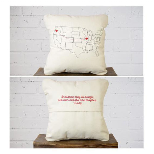 Valentine's Day Personalized Map Throw Pillow-pillow case - www.Gifteee.com - Cool Gifts \ Unique Gifts - The Best Gifts for Men, Women and Kids of All Ages
