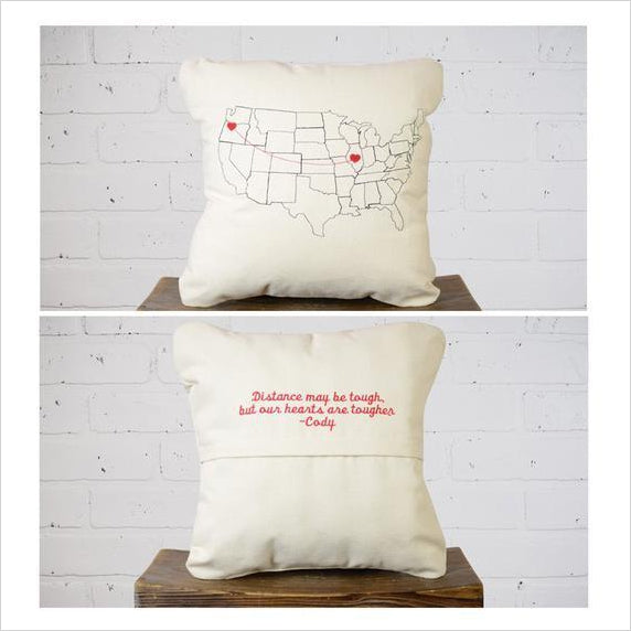 Valentine's Day Personalized Map Throw Pillow - Gifteee. Find cool & unique gifts for men, women and kids