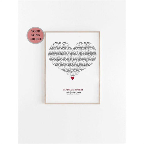 Personalized Song Print-song - www.Gifteee.com - Cool Gifts \ Unique Gifts - The Best Gifts for Men, Women and Kids of All Ages