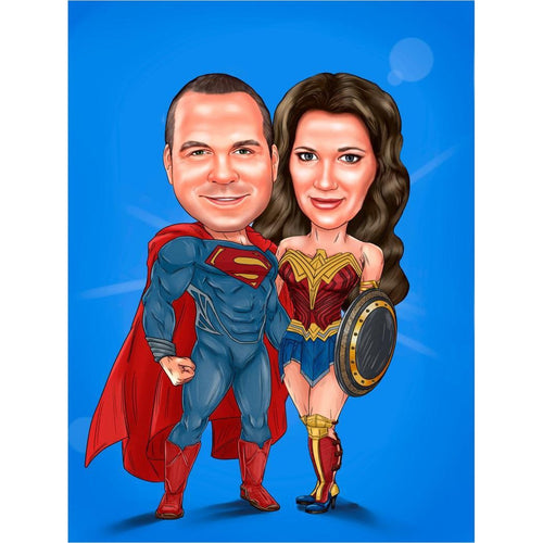 Couple Superhero Portrait - Gifteee. Find cool & unique gifts for men, women and kids