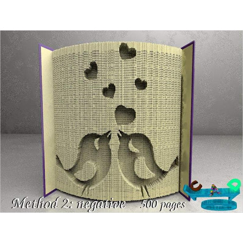 Birds in love: Book Folding Pattern, DIY-book art pattern - www.Gifteee.com - Cool Gifts \ Unique Gifts - The Best Gifts for Men, Women and Kids of All Ages