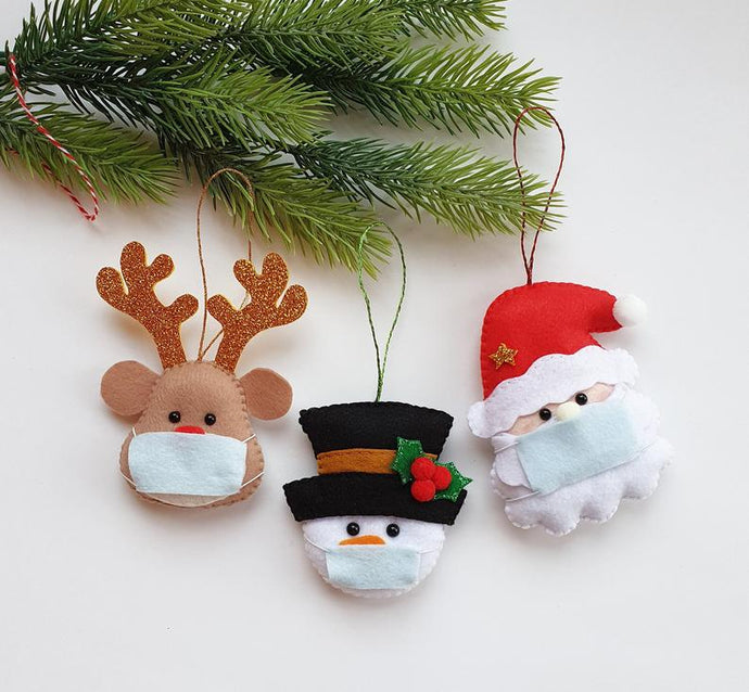 COVID-19 Ornament for Christmas 2020 (Snowman Santa and Reindeer with mask)