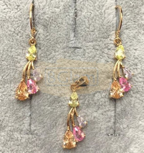 Fashion Jewelry Earrings + Pendant with Multi-Colored Stones 3 branches
