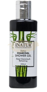 Inatur Charcoal Shower Gel - Detox Charcoal Shower Gel (Face & Body. Oily, Combination & Normal Skin)