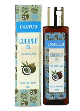 Inatur Oil - Coconut Oil - Cold Pressed , 100% Pure Coconut 200ml