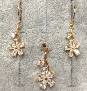 Fashion Jewelry Earrings + Pendant with White Stones Flower Shaped 7