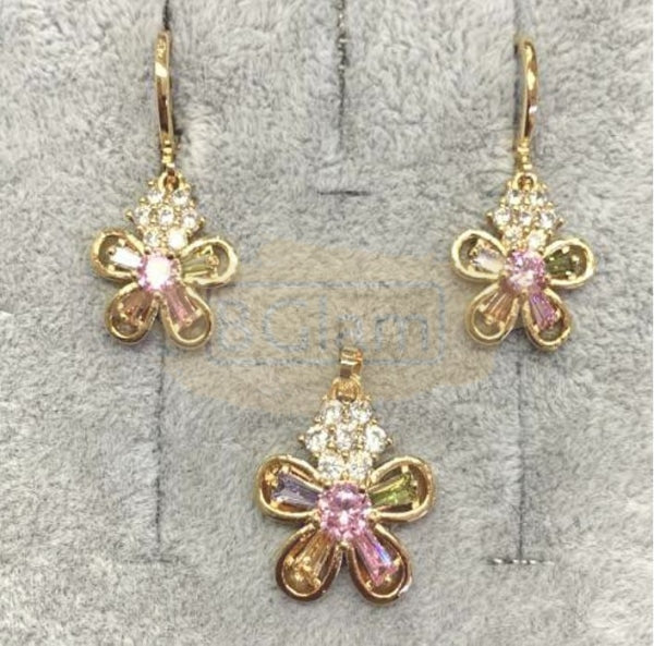 Fashion Jewelry Earrings + Pendant Flower Shaped with Colored Stones 2