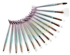 Mermaid Shape Makeup Brush Set Fish Tail 15pcs