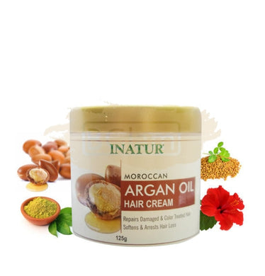 Inatur Moroccan Argan Oil Hair Cream (Soften,reduces hair-fall, & repairs damaged color treated hair)