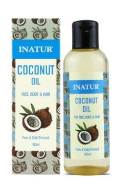 Inatur Oil - Coconut Oil - Cold Pressed , 100% Pure Coconut 100ml (Face, Body & Hair)
