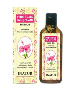 Inatur Hibiscus Re-growth Hair Oil - rejuvenates scalp, promotes hair growth
