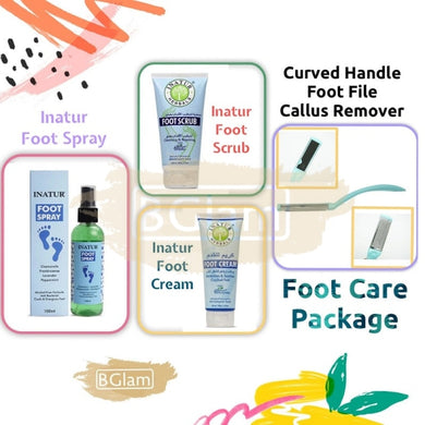 Foot care package with Curved Handle Foot File Callus Remover