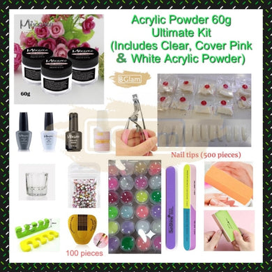 Acrylic Powder 60g Ultimate Kit (Includes Clear, Cover Pink & White Acrylic Powder)