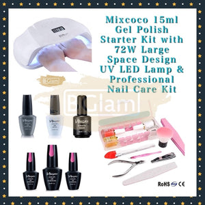Mixcoco 15ml Gel Polish Starter Kit with 72W Large Space Design UV LED Lamp & Professional Nail Care Kit