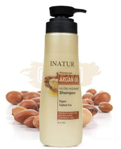 Inatur Argan Oil Shampoo - Organic , Strengthens Hair, Boost Shine , Controls Frizz & SLS, SLES Free