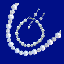 Load image into Gallery viewer, handmade pearl and crystal necklace accompanied by a matching bracelet and a pair of stud earrings