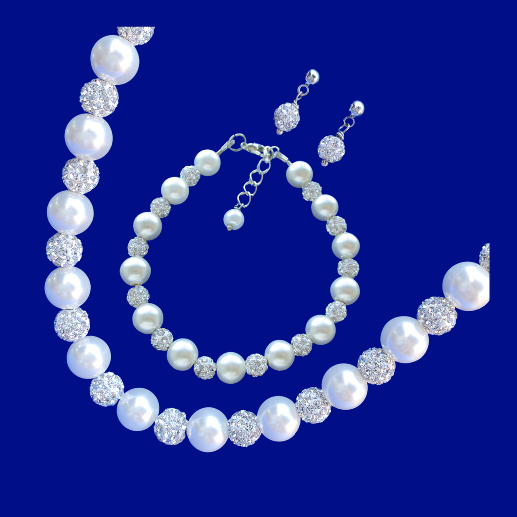handmade pearl and crystal necklace accompanied by a matching bracelet and a pair of stud earrings