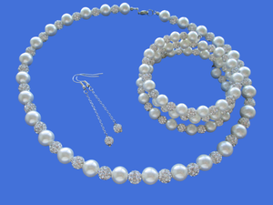 handmade pearl and crystal necklace accompanied by an expandable, multi-layer, wrap bracelet and a pair of crystal drop earrings